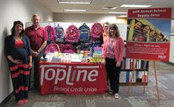 TopLine Federal Credit Union, TopLine, Credit Union, Back-to-School, Supply Drive, Local Communities