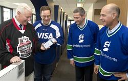 The Princess Margaret Cancer Foundation CEO Paul Alofs joined Visa Canada President Rob Livingston, Mobeewave CEO Benjamin Du Hays and Global Payments Canada President René Bélanger to conduct the first contactless mobile donation using a standalone smartphone.