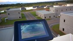 Aegex tablet streaming live drone footage of simulated flood disaster zone at Guardian Centers, Sept. 30