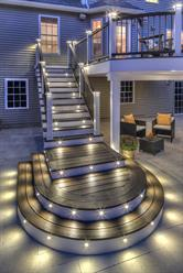 When it comes to lighting, LED-dimmable options like those offered in the TrexDeckLighting system add a soft welcoming glow, as well as more safety and security.