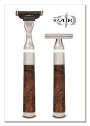 PHI Razor™ Polished aluminium with wood burl.