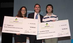 H&R Block Budget Challenge Winners Jonathan Chang and Angela Lin with business teacher Greg Eppes.