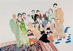 "Elham Rokni, The Wedding exhibition in Atrium Gallery, painting ""The Wedding Guests (The Abdis)"""