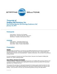 Staffing 360 Solutions Releases Transcript of Q2 2016 Earnings Call