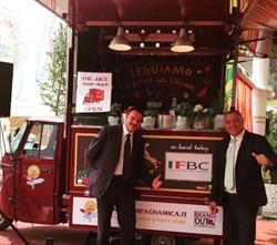 Andrea Di Gregorio and Vincenzo Ventola with the IFBC food truck outside the Vatican