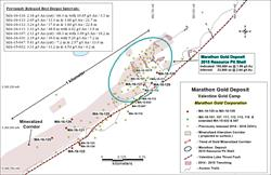 Figure 1: Location map showing the new drill holes MA-16-120 to MA-16-129, and previously released deep targeted drill holes MA-16-101, MA-16-107, MA-16-111, MA-16-112, MA-16-113, MA-16-116 and extended drill holes MA-15-032 and MA-15-047. Figure 1 also shows the 450-meter strike length of the 2015 Marathon Deposit resource pit shell and the more than 1 kilometer strike length of the near surface expression of the mineralized corridor.