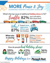 Traffic, holiday shopping and overly busy schedules are top causes of additional holiday stress in New Jersey, according to new research from Plymouth Rock Assurance.