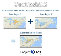 Location Intelligence - GeoDash 3.2 Additive Colour Overlapping Layers
