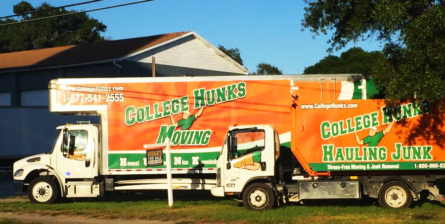 College Hunks Hauling Junk & Moving franchise moving vans and junk removal trucks