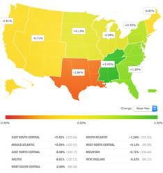 Small Business Jobs Index: Regional Heat Map, November 2016