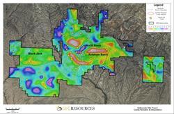 Figure 2: Gravity Derivative & Interpretation Map - Rattlesnake Hills Gold Project 2016