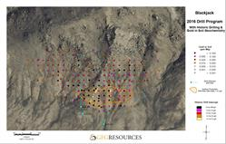 Figure 4: Blackjack 2016 Drill Hole Locations with Historic Drill Highlights and Gold in Soil Geochemistry