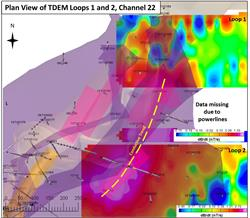 Figure 5: Plan of the CGO Bend with the recently completed TDEM survey covering the eastern trend, with conductors corresponding the interpreted DHEM conductors at the base of the FGO.