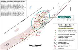 Figure 1: Location map showing the new drill holes MA-16-137 to MA-16-149, and extended MA-16-115, as well as the previously released deep targeted drill holes MA-16-101, MA-16-107, MA-16-111, MA-16-112, MA-16-113, MA-16-116, MA-16-127, MA-16-128, MA-16-130 and MA-16-136 and extended drill holes MA-15-032 and MA-15-047. Figure 1 also shows the 2015 Marathon Deposit resource pit shell, the more than 400-meter strike length of the deeper high-grade mineralized corridor as well as the more than 1 kilometer strike length of the near surface mineralization.