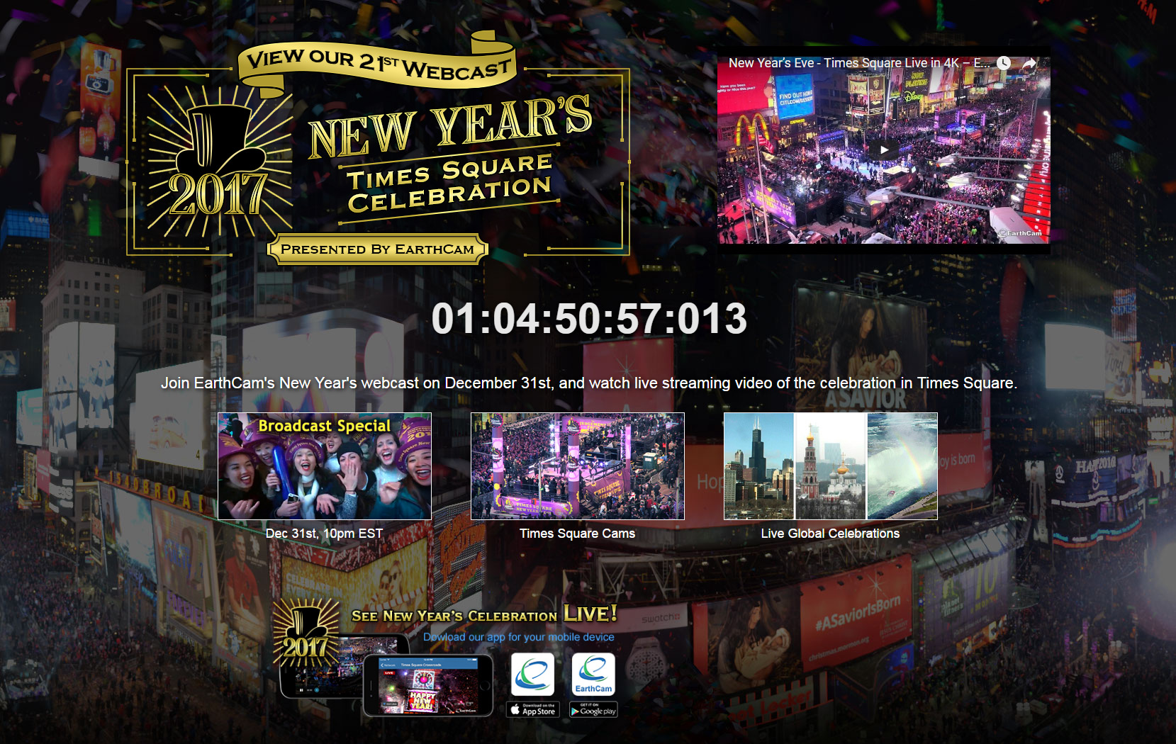 Earthcam presents first 4k video webcast of new years eve live from image available httpmarketwirelibrarymwgo2016123111g126298imagesearthcamnyeimagetwo 202461b6156585898e9ccdb13ed44304g gumiabroncs Gallery