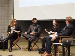 Panelists (L - R) Foteini Agrafioti, Hamad Naseem and Christina Cai on stage with moderator Charles Plant during the final session of the fall series of Entrepreneurship 100.