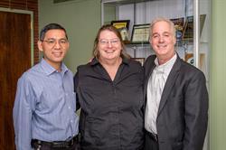 From left to right: Limin Chen (VP of Engineering); Dr. Mauro Caputi (Associate Professor of Engineering, Hofstra University); Jon Cooper (President)