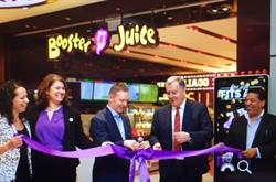 From left to right:  Giovanna Verilli, Associate Director for Retail Food and Beverage, GTAA  Suzanne Merrell, Senior Manager Food and Beverage, GTAA  Dale Wishewan, CEO, Booster Juice  Scott Collier, VP Customer and Terminal Services  Glenn Tucker, Director of International and Non-Traditional Development, Booster Juice