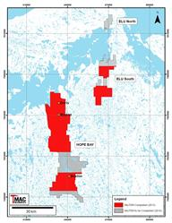 FIGURE 11: HOPE BAY AND ELU PROPERTIES SKYTEM MAG/EM GEOPHYSICAL SURVEY COVERAGE IN 2015. A PORTION OF THE SKYTEM SURVEY AND THE FULL CGG HELIFALCON SURVEY HAVE BEEN DEFERRED TO THE 2016 SEASON DUE TO DETERIORATING WEATHER CONDITIONS IN Q4 2015.