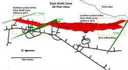 FIGURE 3: PLAN VIEW SHOWING THE LOCATION OF THE DORIS NORTH 2015 SURFACE INFILL DRILLING. DRILLING WAS FOCUSED ON THE SOUTHERN EXTENT OF THE DORIS NORTH ZONE, WITHIN THE INDICATED RESOURCE AS WELL AS THE NORTHERN EXTENT OF THE ZONE, ABOVE THE DIABASE DYKE. AREAS OUTLINED IN WHITE REPRESENT AREAS SHOWN IN FIGURE 4 AND FIGURE 5.