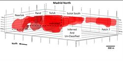 FIGURE 7: MADRID NORTH DEPOSIT MINERAL RESOURCE ENVELOPES, SHOWING THE RELATIVE LOCATION OF THE MADRID NORTH NAARTOK, SULUK AND SULUK SOUTH ZONES.