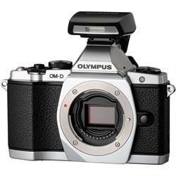 Olympus OM-D E-M5 mirrorless camera with optional Flash