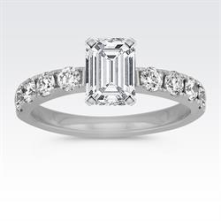 Shane Co. Platinum Engagement Ring with Emerald Cut Center Diamond