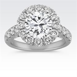 """Shane Co. """"Five Table"""" Diamond Halo Engagement Ring"""