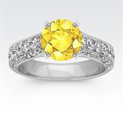 Shane Co. Platinum Cathedral Engagement Ring with Round Yellow Sapphire