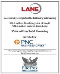 Phoenix Capital Resources Assists Lane Enterprises, Inc. in Completing a Refinancing with PNC Bank Tombstone