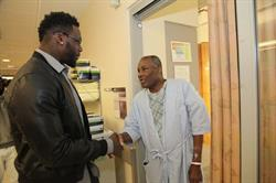 New York Giants Player Jason Pierre-Paul visits burn survivors at the Hearst Burn Center at NewYork-Presbyterian/Weill Cornell Medical Center