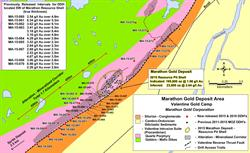 Figure 1: Location map showing the 1.7 km strike length of the alteration - mineralized corridor including the 450 meters strike length of the current Marathon resource pit shell, 450 meters of high-priority drill targets and 800m SW extension of the mineralized corridor.