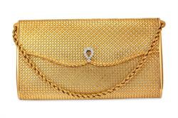 Lot 25 - Van Cleef & Arpels, French, 18kt Yellow Gold and Diamond Lady's Clutch Purse