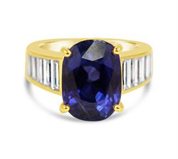 Lot 106 - Cartier, unheated 9.71ct Burmese Sapphire And Diamond Lady's Ring