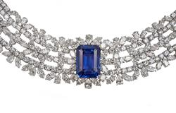 Lot 102 - Important 54.59ct unheated Ceylon Sapphire and 18kt White Gold Lady's Necklace, By Chatila