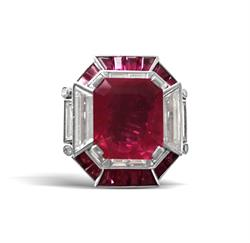 Lot 100 - Important Platinum, 10.36ct unheated Burma Ruby and Diamond Lady's Ring