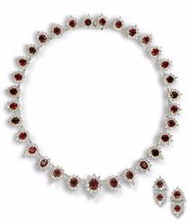 "Lot 105 - Important Platinum, ""Classic"" unheated Burma Ruby and Diamond Necklace and Earrings, 3 Pc."