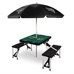 LA Rams table with umbrella