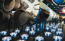 Dinner will be held underneath a Saturn V rocket, the largest rocket ever made, at the award-winning Apollo/Saturn V Center at Kennedy Space Center, FL.