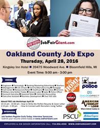 Oakland County Job Expo Flyer April 28, 2016
