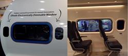 SPD-Smart iShade EDWs on Fokker's Boeing 737 mockup, including the Panoramic SkyView Window.