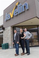 Elizabeth Gleadle with Javelin Technologies Managing Directors John Carlan (left) and Ted Lee.