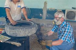 An ovillanta being made from old car tires in Guatemala. Photo credit: Daniel Pinelo