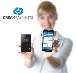 Dream Payments: Woman holding MPOS and Mobile Phone