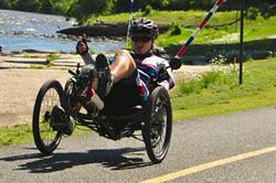 Marino Libro rides her recumbent cycle.