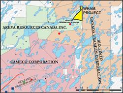 Figure 1:  Location Map of the Wham Project, northeast of the Key Lake minesite.