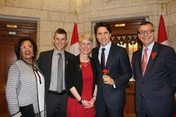 From left to right: Hedy Fry (Member of Parliament, Vancouver Centre), Benjamin Davis (National Vice President, Government Relations, MS Society of Canada), Marie Vaillant (Board Chair, Ontario and Nunavut Division, MS Society Canada and person with MS), Prime Minister Justin Trudeau, Yves Savoie (President and CEO, MS Society of Canada). Photo credit - Brian T. Hum.