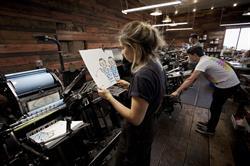 Artwork by Jean Jullien getting produced on vintage letterpress printing machines