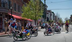 Face of America cyclists in downtown Gettysburg.