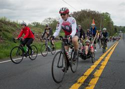 Face of America bicycle riders in Maryland.